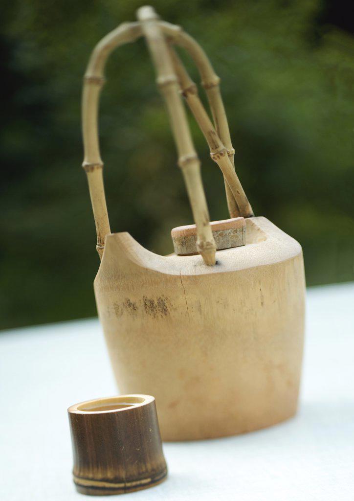 Bamboo tea set : Stock Photo