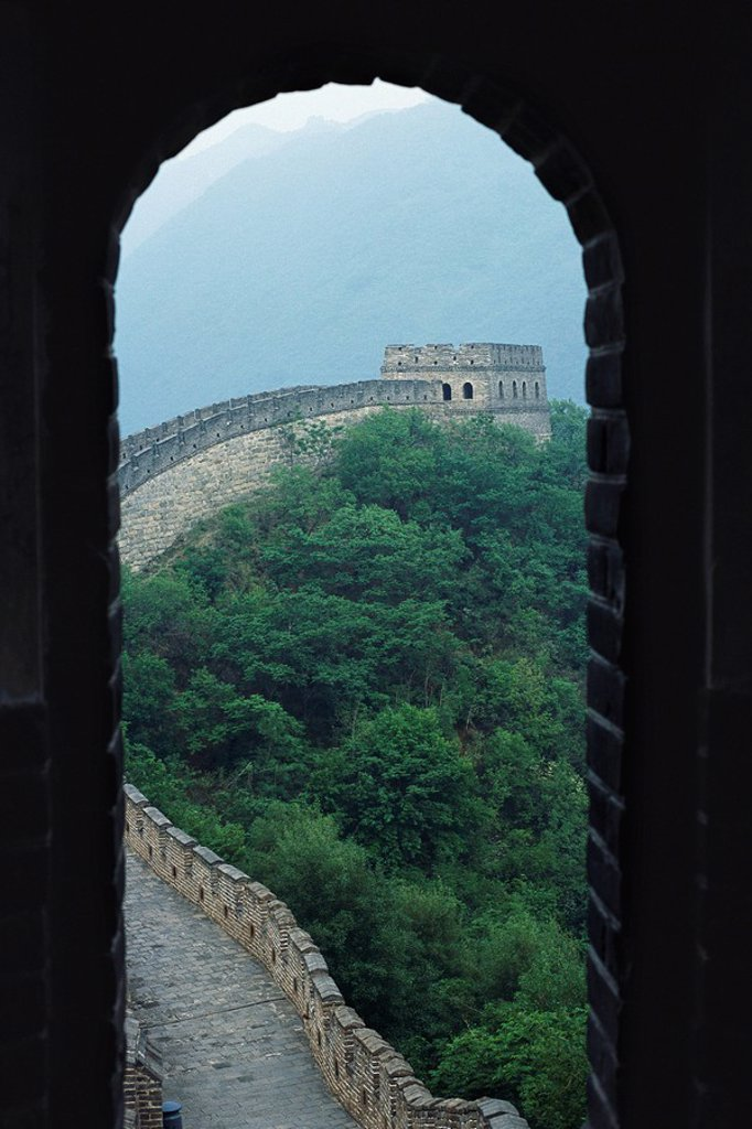Stock Photo: 1747R-15756 Great Wall of China, seen through arch