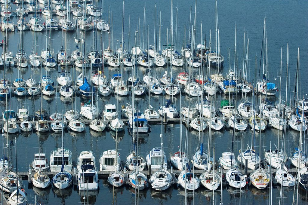 Stock Photo: 1747R-15984 Boats moored in marina, Brittany, France
