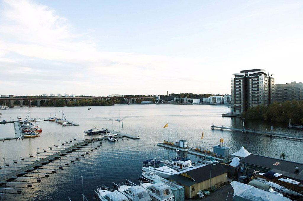 Sweden, Stockholm, Lake Malaren, marina : Stock Photo