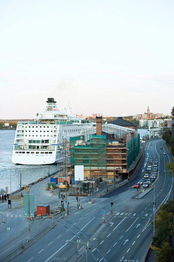 Sweden, Stockholm construction site along harbor : Stock Photo