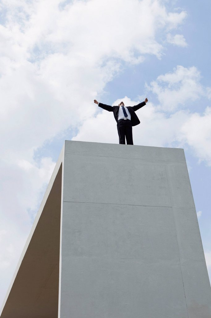 Stock Photo: 1747R-17487 Businessman standing on concrete structure with arms outstretched, low angle view