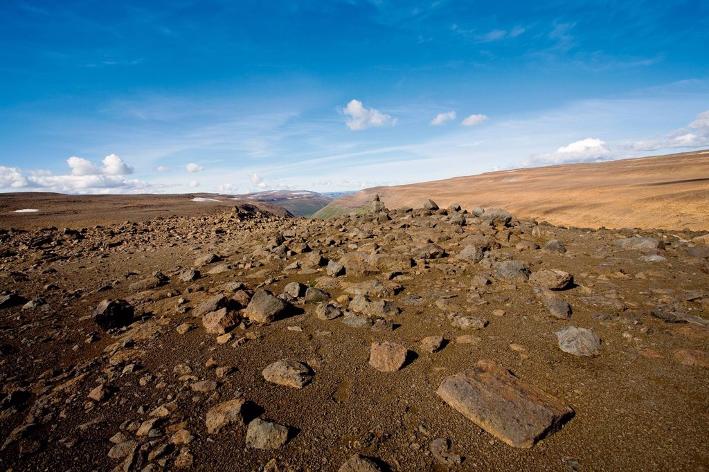Barren landscape, Sprengisandur region, Iceland : Stock Photo