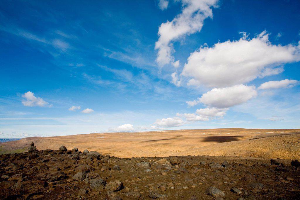 Barren landscape, Sprengisandur region, Iceland : Stock Photo