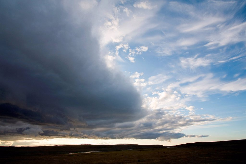 Stock Photo: 1747R-18293 Dramatic clouds over barren landscape, Sprengisandur region, Iceland