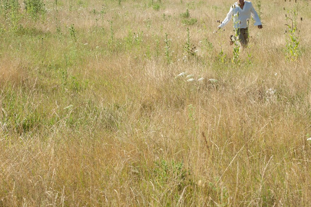 Stock Photo: 1747R-18405 Man running through field, mid section