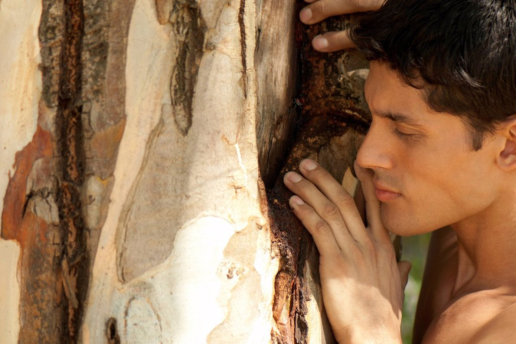 Stock Photo: 1747R-18413 Mid_adult man touching tree trunk, eyes closed