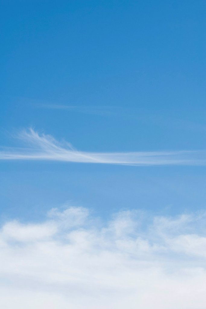 Stock Photo: 1747R-18523 Wispy clouds in blue sky