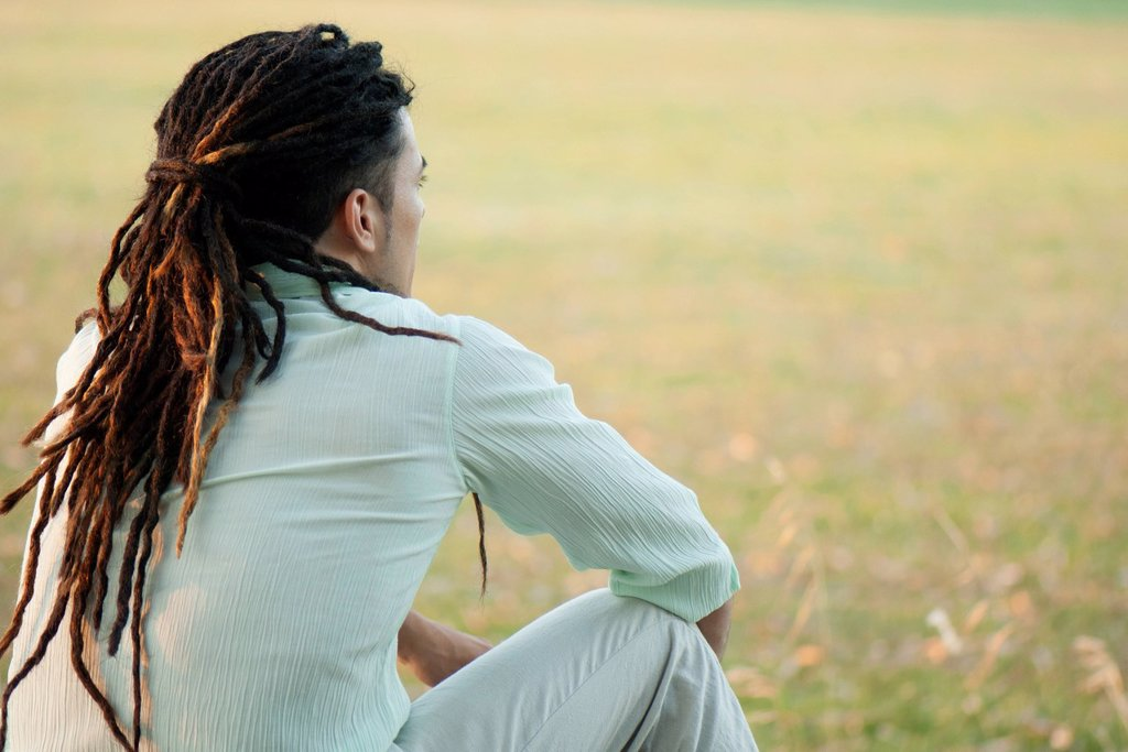 Stock Photo: 1747R-18558 Man with dreadlocks sitting outdoors, rear view