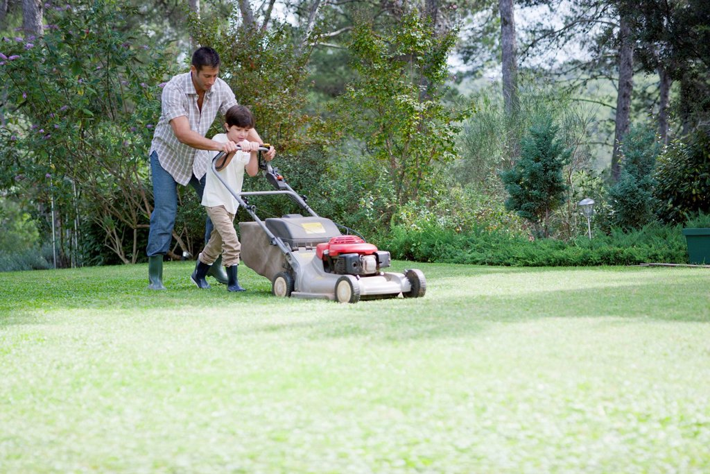 Father and son mowing lawn together : Stock Photo