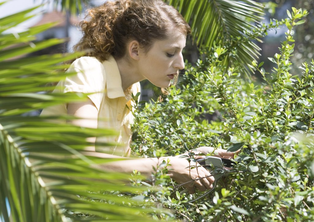 Woman doing yardwork : Stock Photo