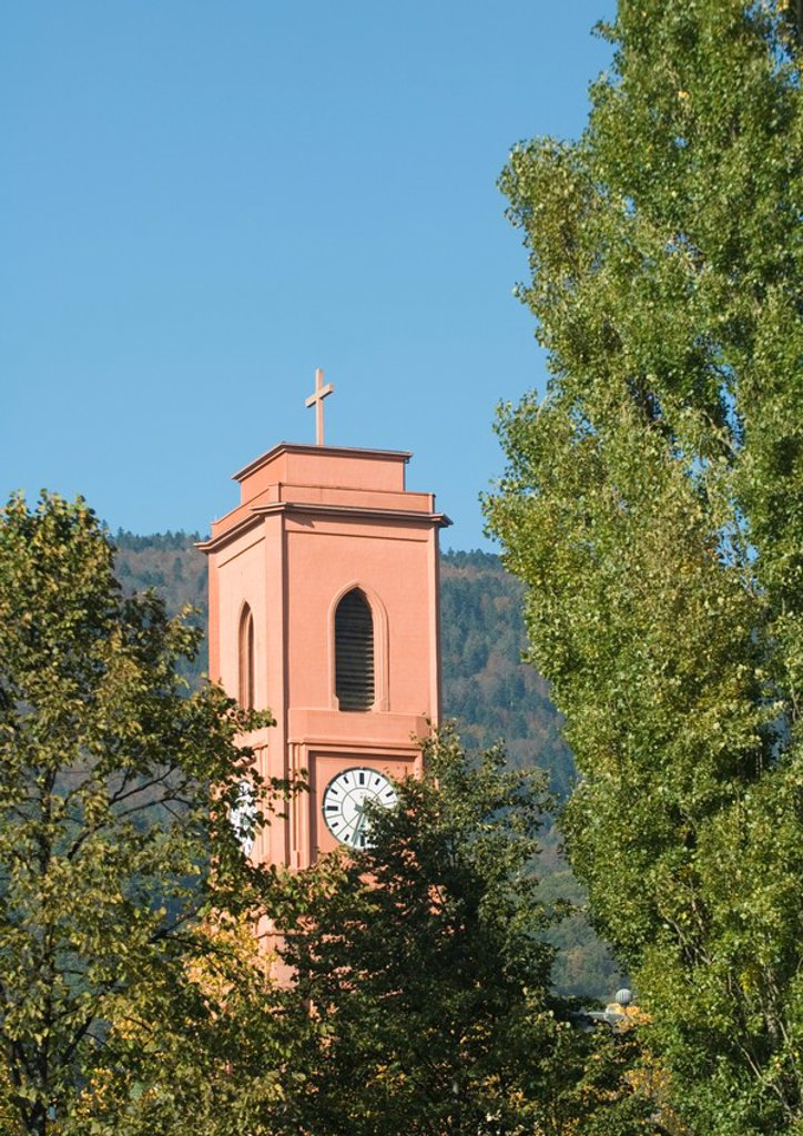 Stock Photo: 1747R-4100 Switzerland, Neuchatel, the Red Church