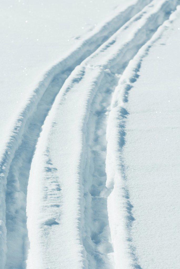 Tire tracks in snow : Stock Photo