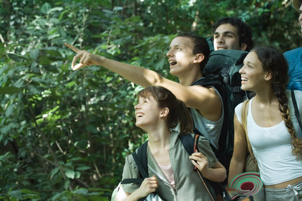 Group of hikers, one pointing to distance : Stock Photo