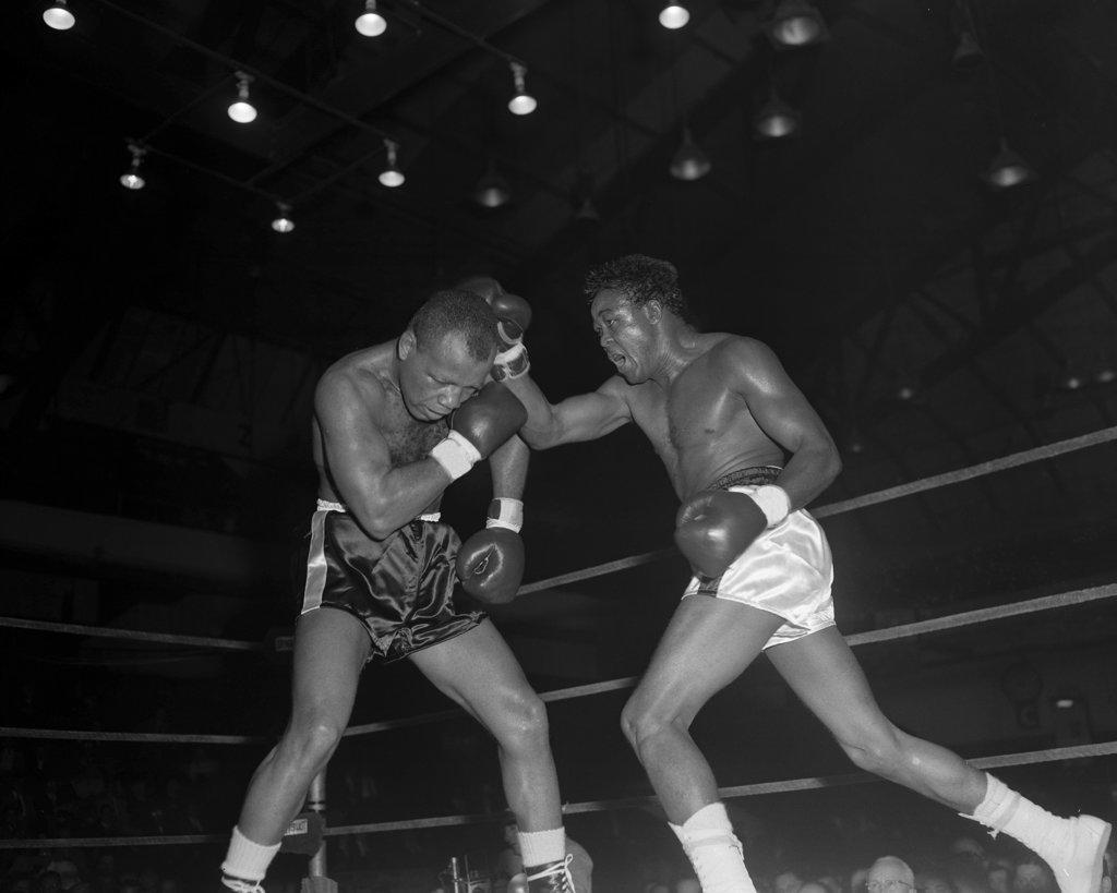 "Stock Photo: 1749-188B Cuba's Kid Galivan (right) vs. Ralph ""Tiger"" Jones (left), 04/04/58 Philadelphia Arena, Philadelphia, USA"