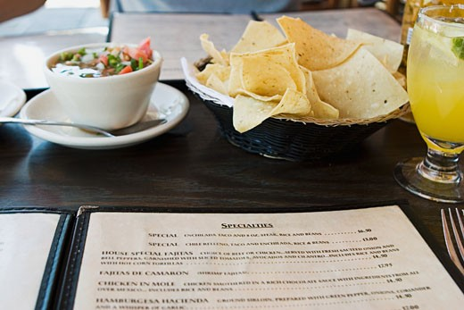 Stock Photo: 1757R-1413 Menu on table at Mexican restaurant.