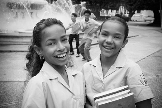 School children socializing in center plaza : Stock Photo