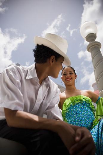 Teenaged children wearing Plena traditional attire : Stock Photo