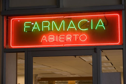 Pharmacy Open sign, Spanish : Stock Photo