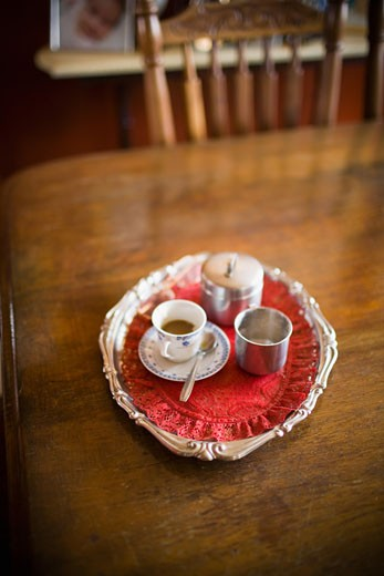 Serving tray of espresso coffee on the dining table : Stock Photo