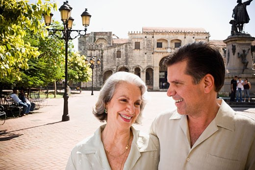 Mature man and his mother smiling  : Stock Photo