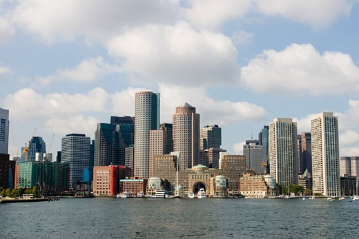 Stock Photo: 1757R-4518 Buildings at the waterfront in boston