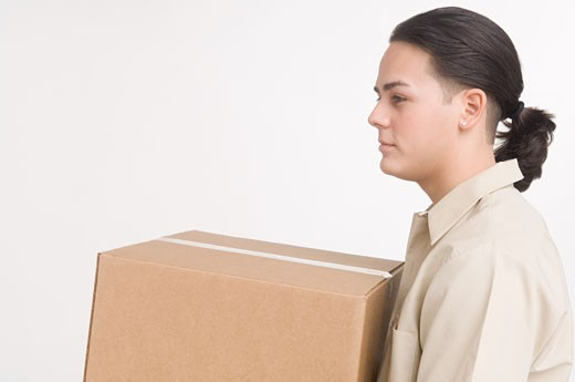 Stock Photo: 1757R-5546 Delivery man carrying large box