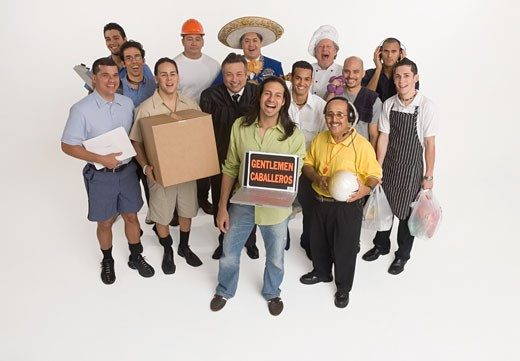 Group portrait of men in different professions : Stock Photo