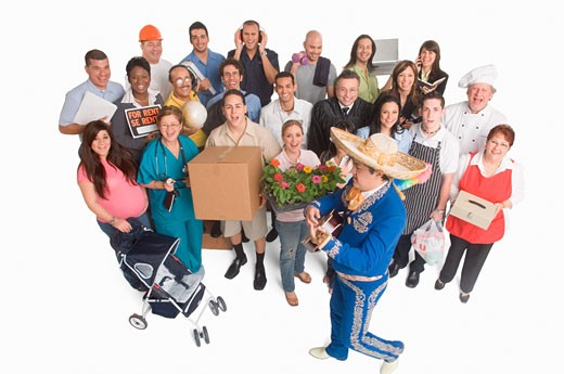 Group portrait of people with different occupations : Stock Photo