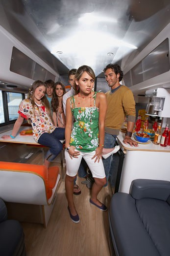 Stock Photo: 1757R-6530 Group of people in a motor home