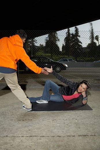 Young couple break dancing : Stock Photo