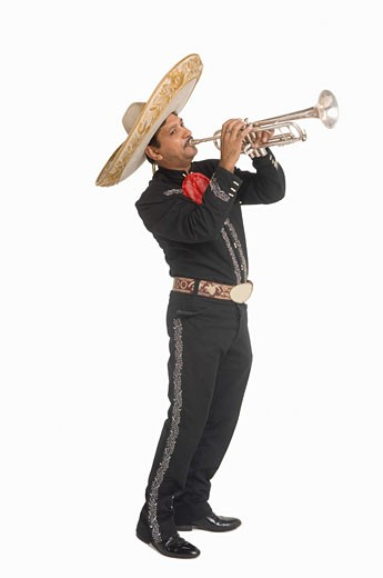 Stock Photo: 1757R-7084 Portrait of Mariachi playing trumpet