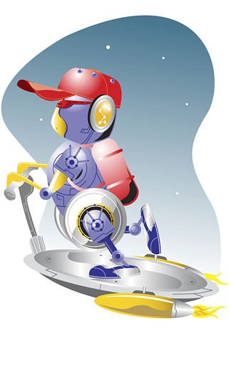 Robot riding a flying saucer : Stock Photo