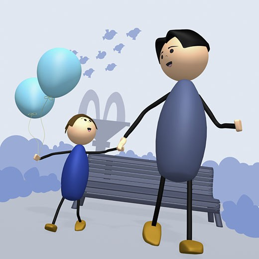 Father and his son walking together holding hands : Stock Photo