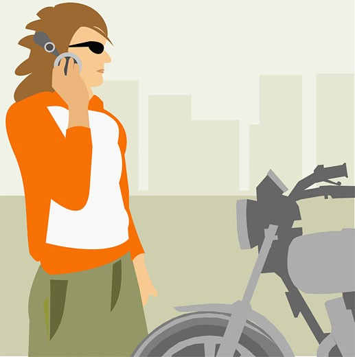 Woman standing in front of a motorbike : Stock Photo
