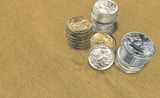 High angle view of stacks of coins : Stock Photo