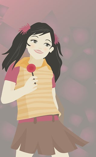 Girl holding a lollipop : Stock Photo