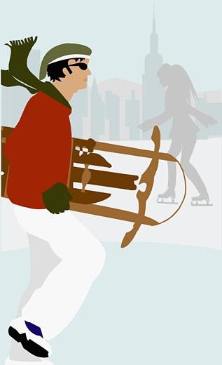 Stock Photo: 1758R-1539 Man holding a sledge