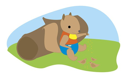 Squirrel feeding the birds : Stock Photo