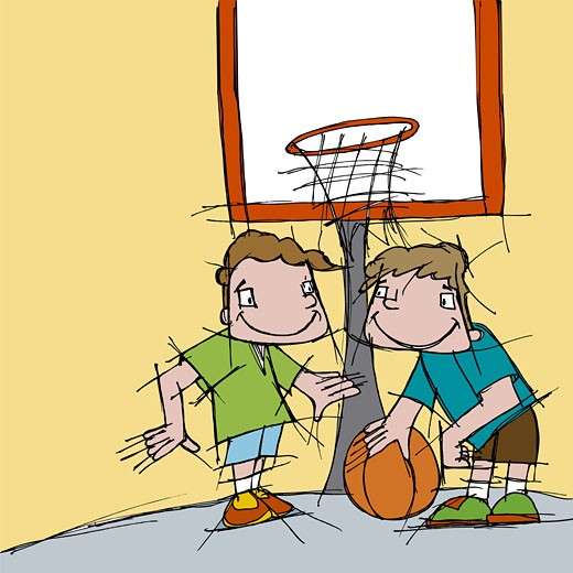 Stock Photo: 1758R-1927 Two boys playing basketball