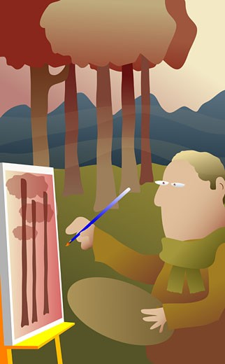 Man painting on canvas : Stock Photo