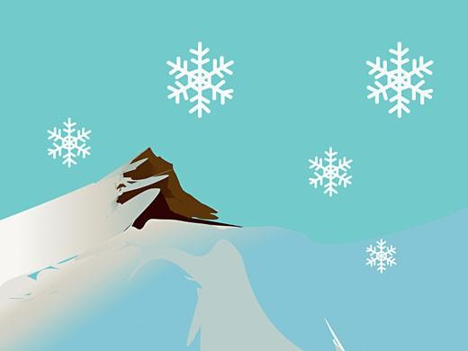 Snow falling on a mountain : Stock Photo