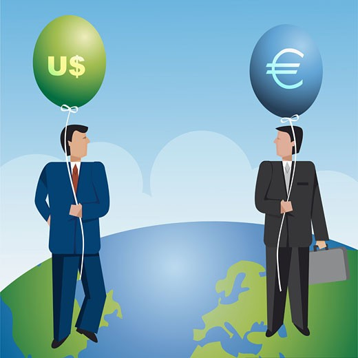Stock Photo: 1758R-2203 Two businessmen holding balloons with currency sign