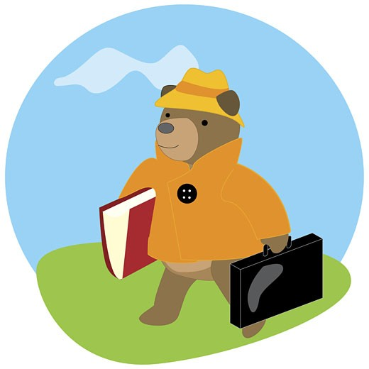 Stock Photo: 1758R-2278 Bear carrying a briefcase and a file