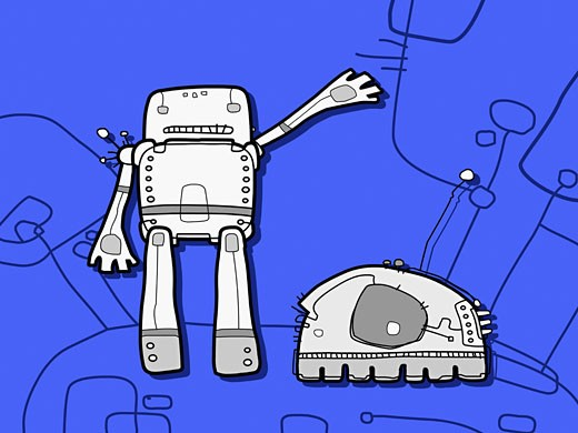 Two robots against a blue background : Stock Photo