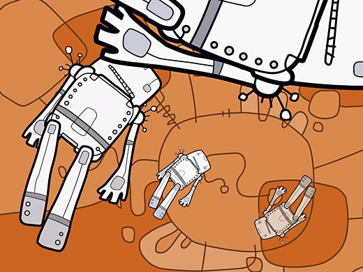 Close-up of four robots against an orange background : Stock Photo