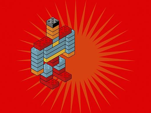 Robot made of plastic blocks  : Stock Photo