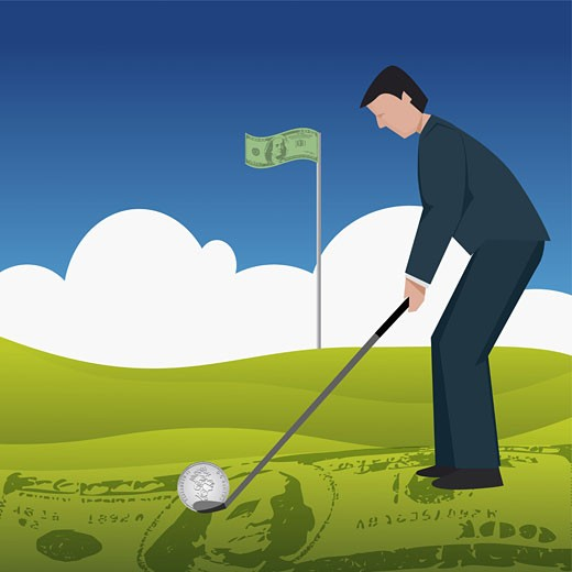 Businessman playing golf : Stock Photo
