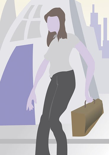 Stock Photo: 1758R-3072 Close-up of a businesswoman holding a briefcase