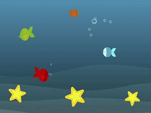 Four fish with three starfish swimming underwater : Stock Photo